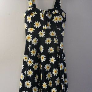WOMENS SUNFLOWER SUN DRESS IN BLACK WITH BOW IN BA